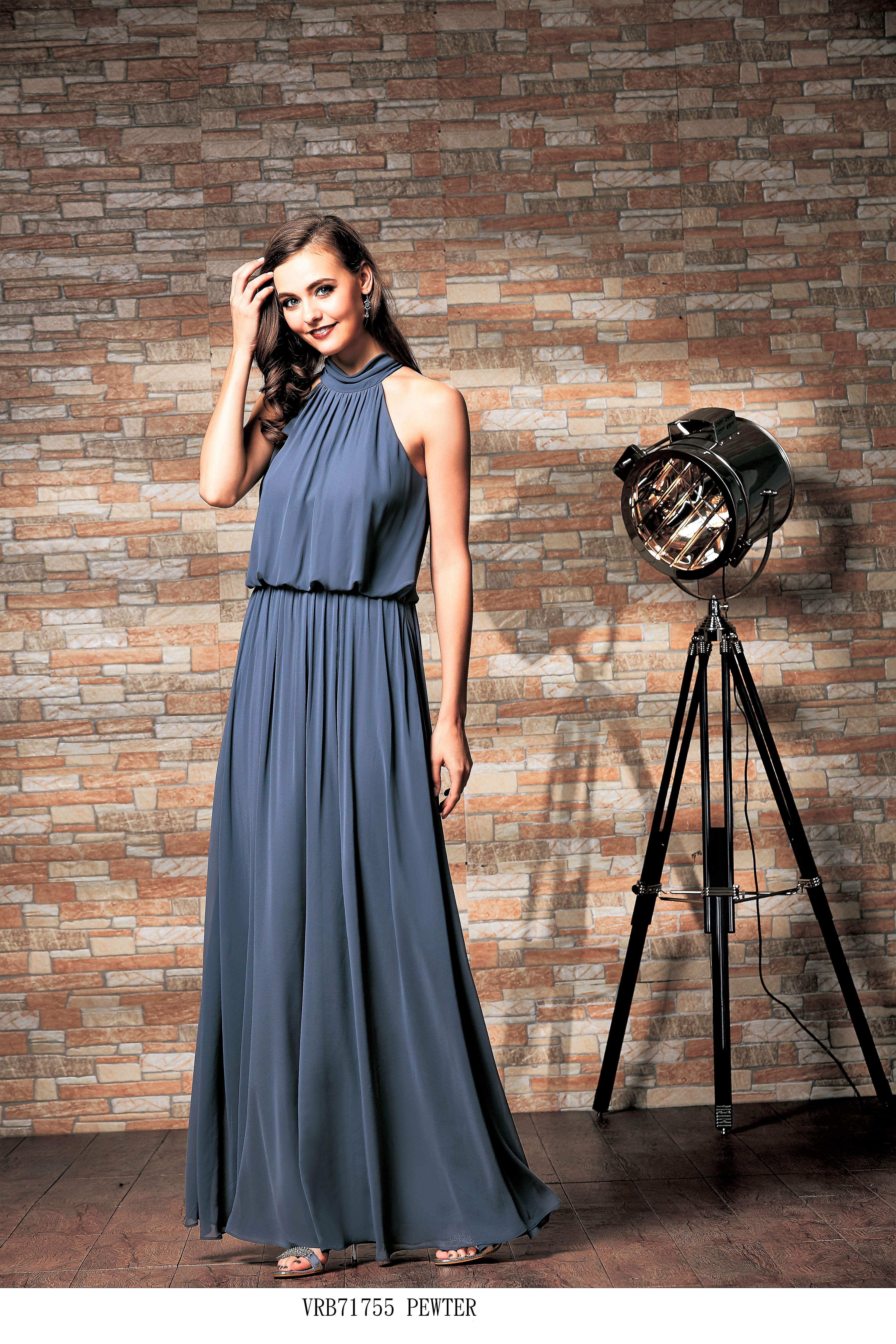 Violet, Chiffon Hi Neck bridesmaid dress
