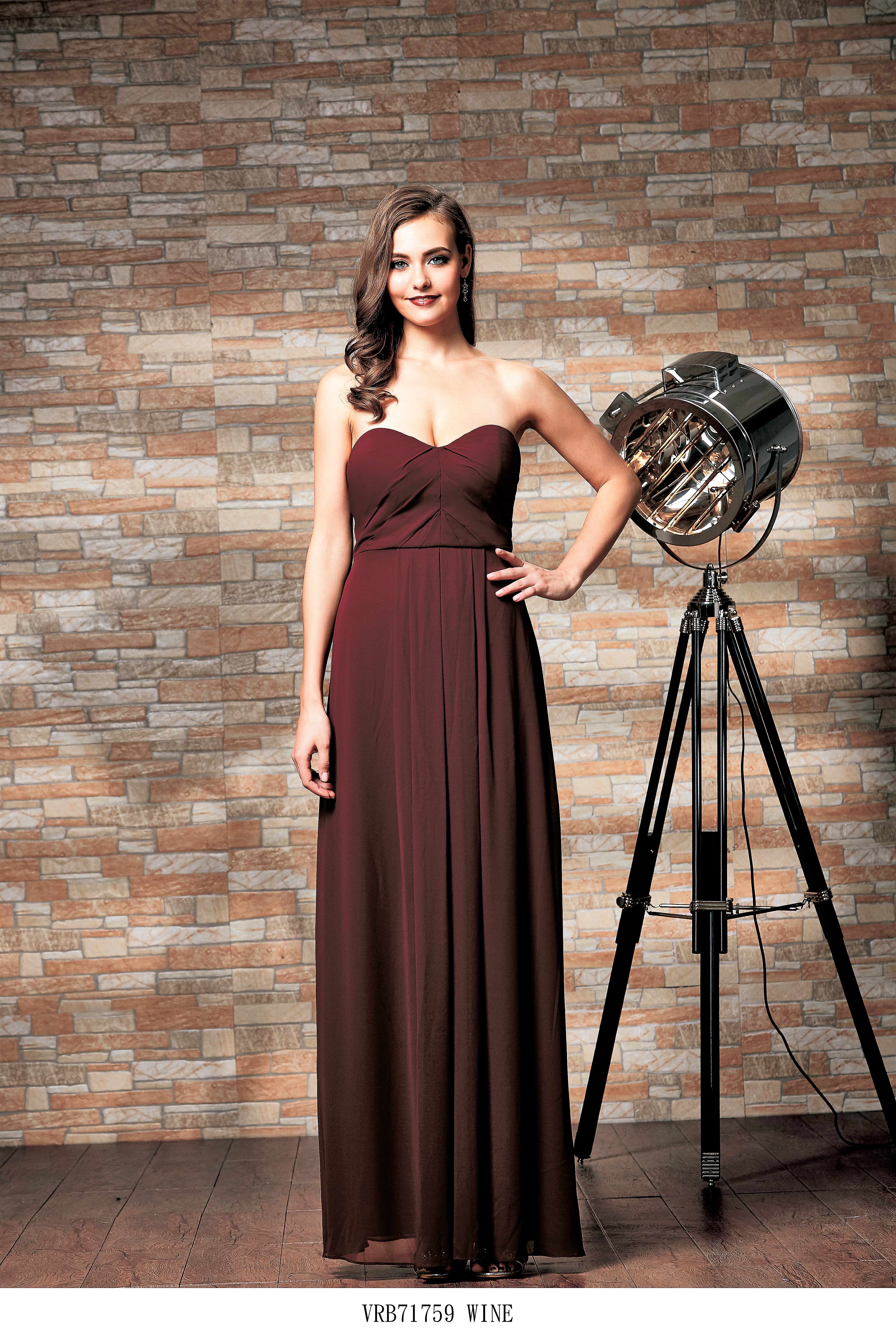 Verginia Strapless chiffon bridesmaid dress