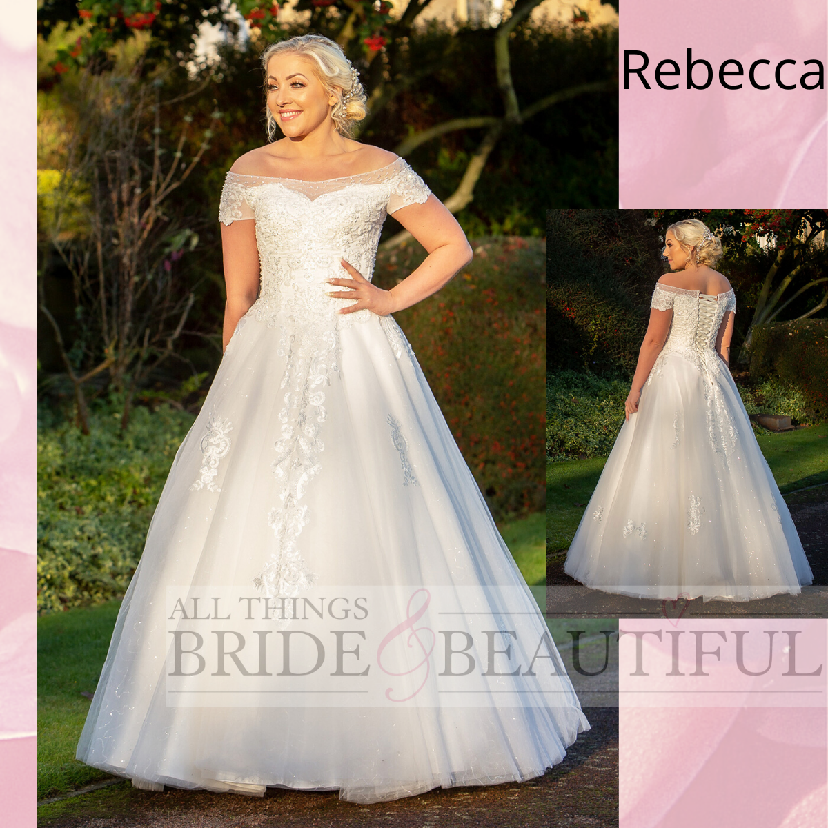 Rebecca, Wedding dress with bardot style neckline and a tulle and lace skirt.