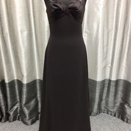 Wendy Chiffon and Satin dress in Chocolate Brown
