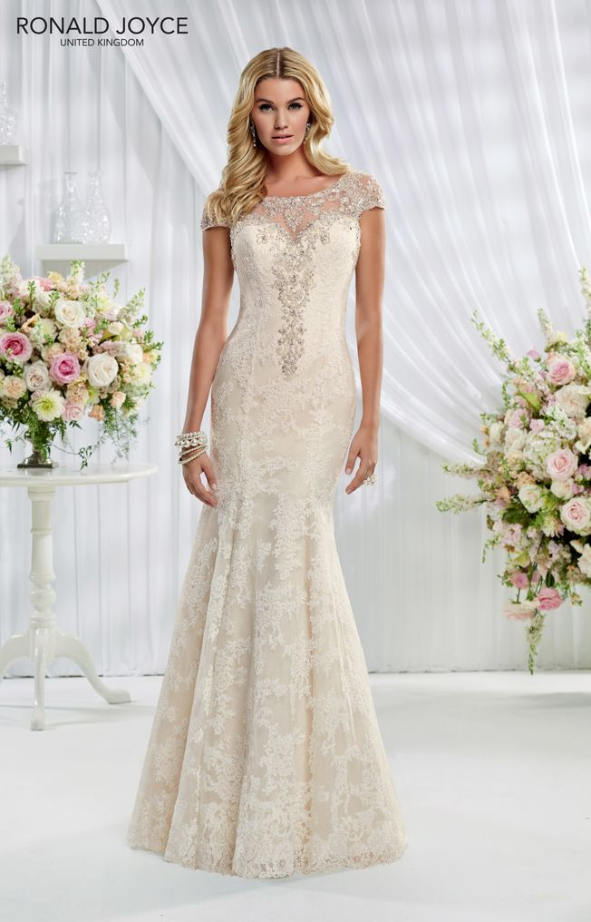 Emma 69007 Champagne size 16 cap sleeve, lace wedding dress