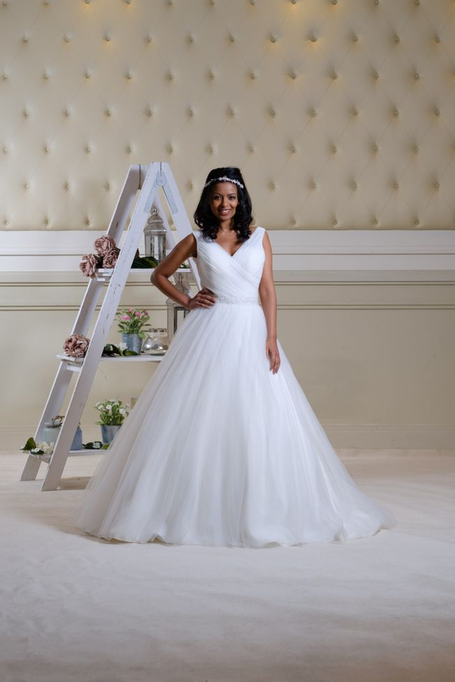 Greer, Ivory V-neck tulle wedding dress.