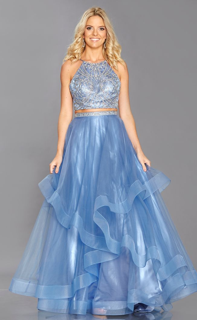 Trinity Light blue prom dress size 12 with beaded bodice and full skirt.