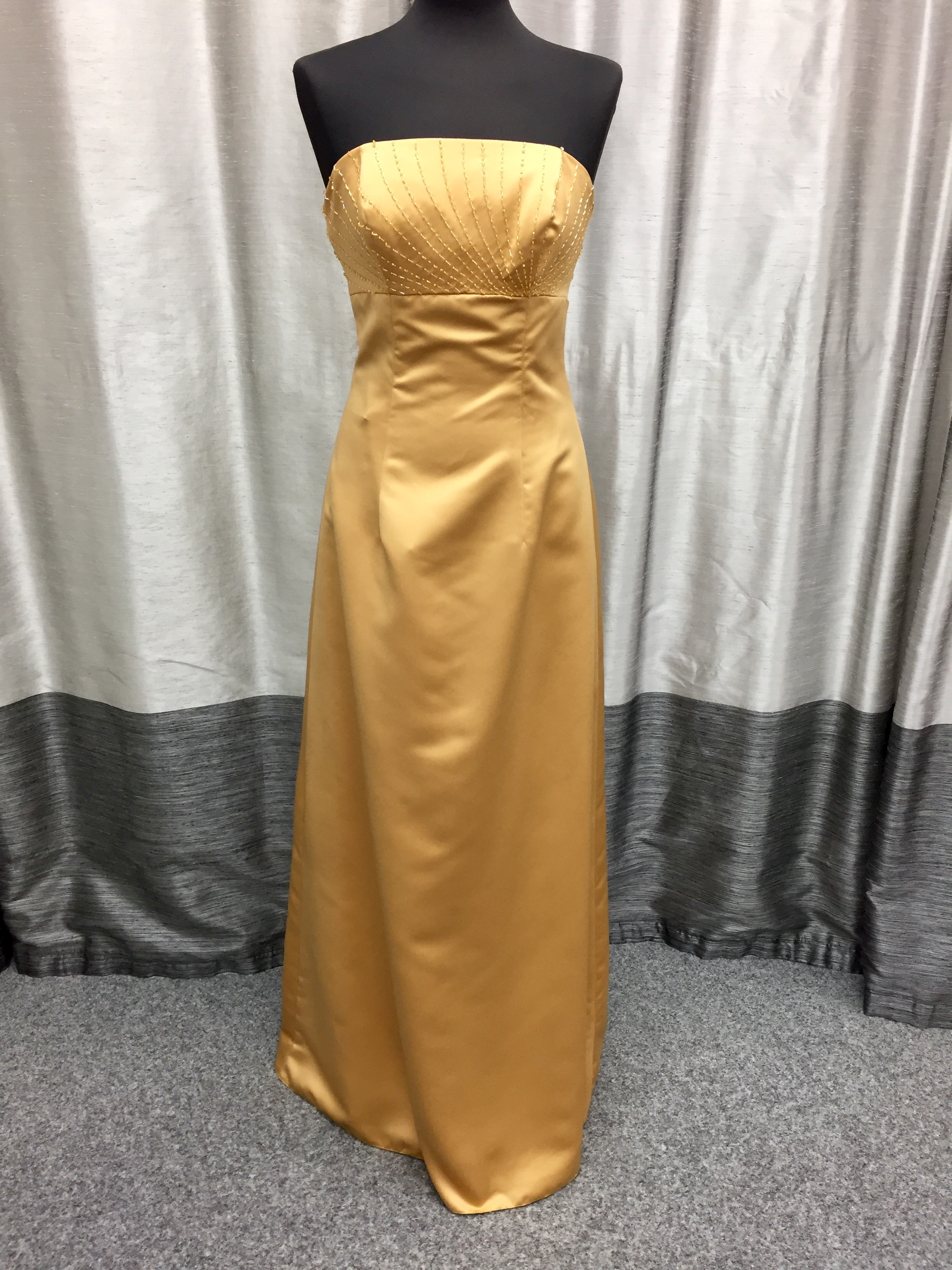 Brassy, gold satin prom or bridesmaid dress size 10