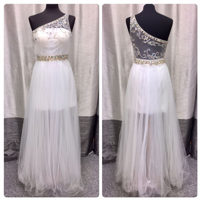 White prom or evening dress with illusion skirt and silver trim size 10