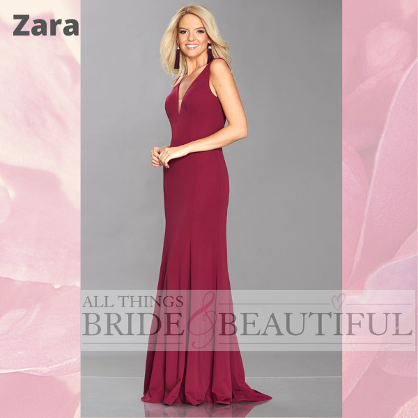 Zara prom or evening dress with plunge v-neck in plum colour size 14