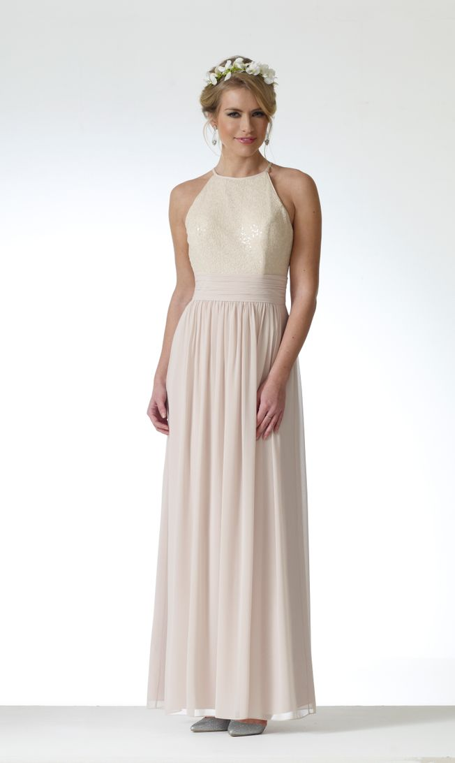 Bonnie DAB11706 Champagne chiffon dress size 8-10