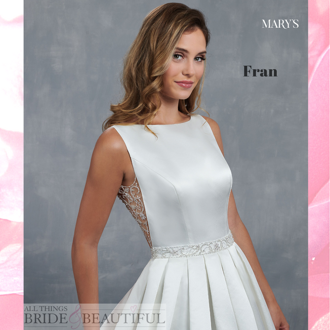 Fran, Satin Pleated Ballgown wedding dress with open back