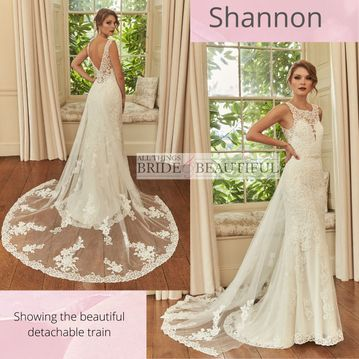 Shannon wedding gown with detachable train