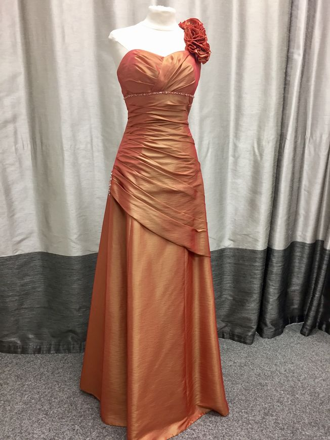 Charlie, burnt orange A-line prom or evening dress one only size 8