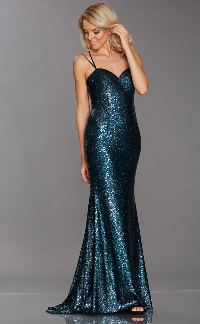 Calli, peacock colour slinky sequin prom or evening dress size 4