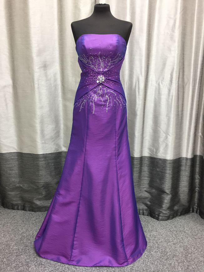 Cole, purple taffeta fit and flare prom dress with silver beading, size 10 only