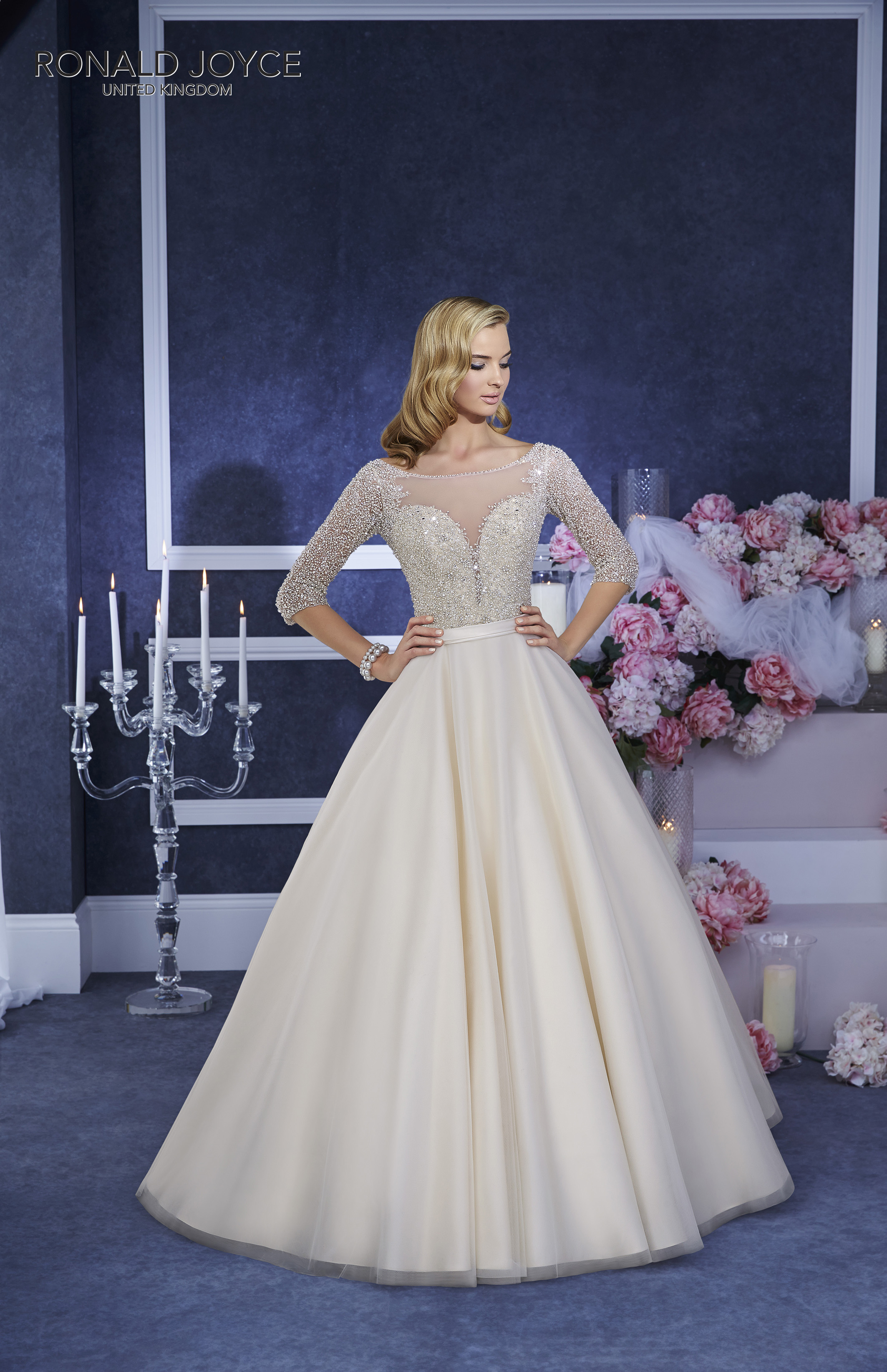 Electra 69055 Beaded top Light gold size 14 wedding dress with sleeve