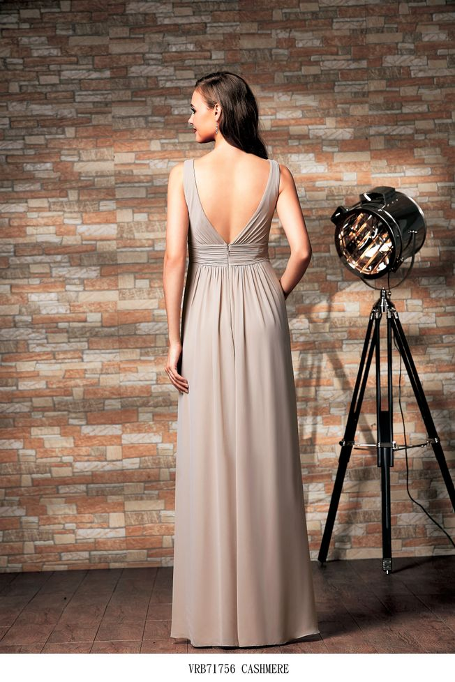 Vivian V-neck chiffon bridesmaid dress