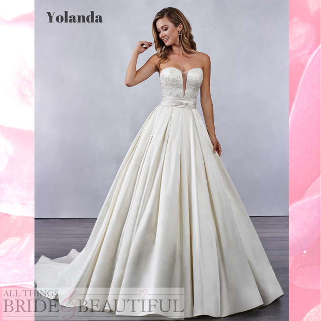 Yolanda size 8 Satin wedding gown with an illusion plunge front