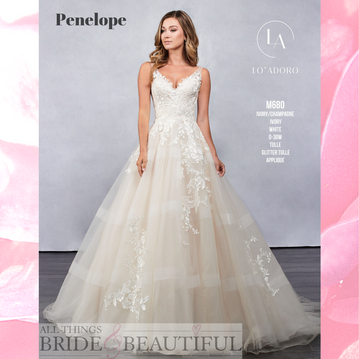 Penelope. Full skirted, V-veck wedding gown with low back