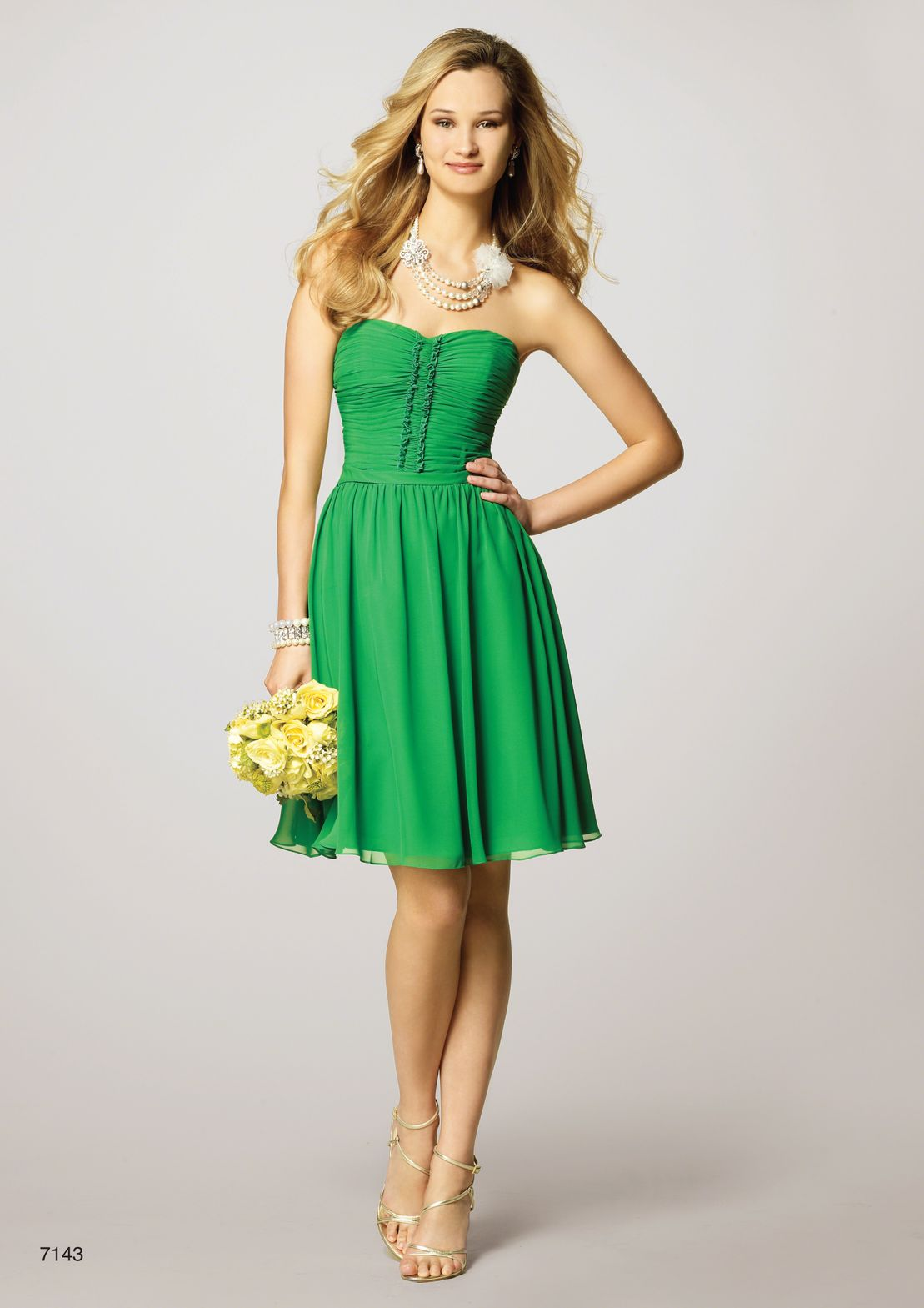 Image of short green chiffon dress called Rimini, size 10