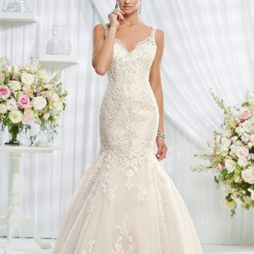 Erin, Lace fishtail wedding dress with beaded back detail