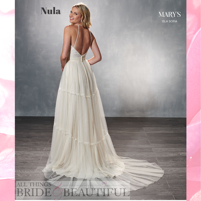Nula, boho style tulle and lace wedding dress