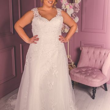 Gladys-BE12,Lace A-line wedding dress with covered laced & buttoned back