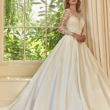 Vanita, Ivory satin wedding dress with long sleeve lace overtop.