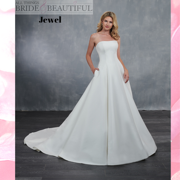 Jewel, Princess Line wedding Gown in Mikado satin